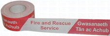 FIRE & RESCUE SERVICE in English and Welsh barrier tape